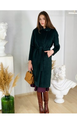 Зелене пальто з ворсу лами 20-124/У-899-139-3