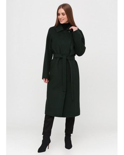 Пальто середньої довжини темно-зеленого відтінку