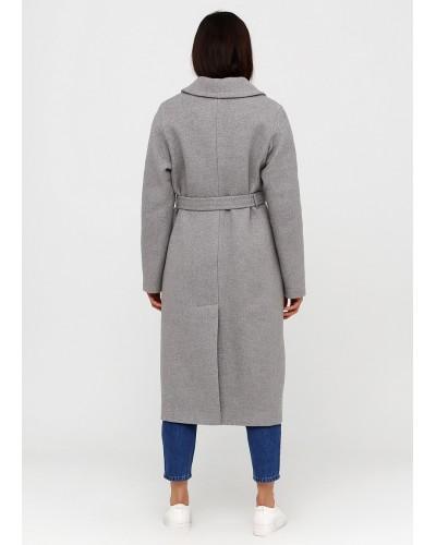 Класичне утеплене сіре пальто на запах