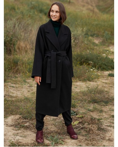 Чорне двубортне пальто 20-203-1062-148