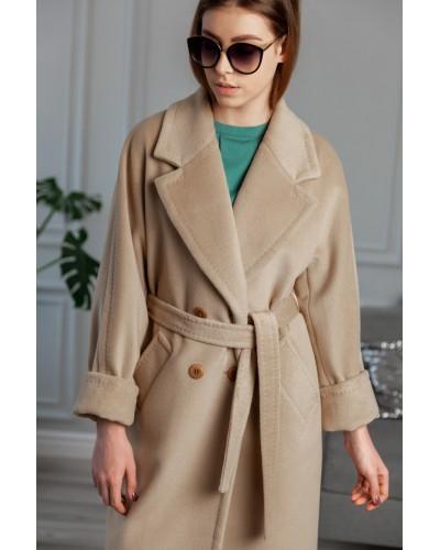 Бежеве двубортное пальто 20-203-915-111