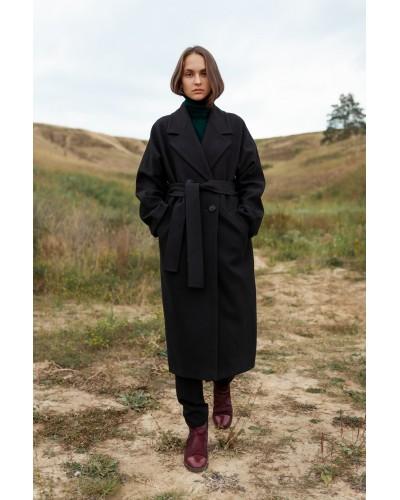 Чорне двубортне пальто з вовни 20-203/У-1062-148