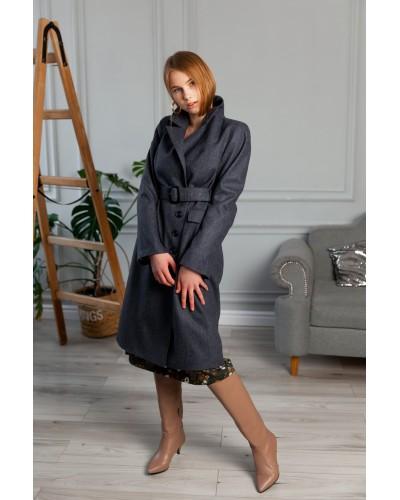 Сіре пальто двубортне 20-205-912-145
