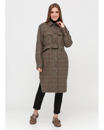 Ультрамодне пальто з принтом гусяча лапка