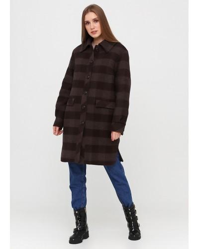 Коричневе однобортне пальто в клітинку