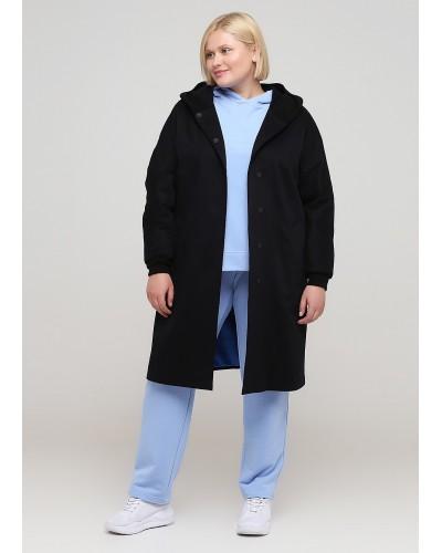 Базове чорне пальто з капюшоном