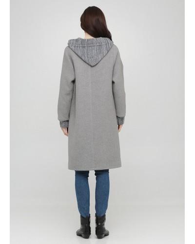 Базове сіре пальто з в'язаним капюшоном