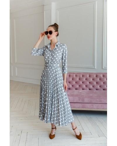 Сіра сукня зі спідницею-плісе 30-244-805
