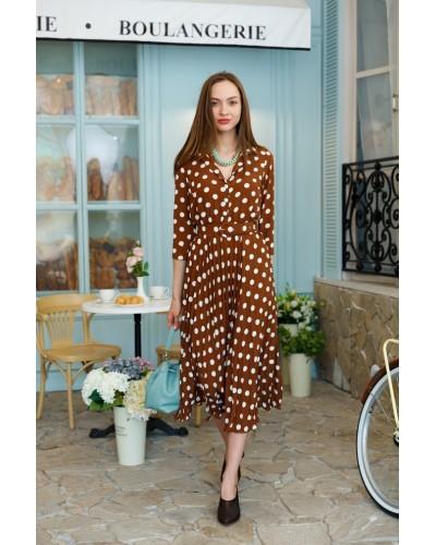 Коричневе плаття в горошок 30-244-806