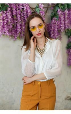 Блуза з рукавами-плісе з шовку ARMANI 30-245-544