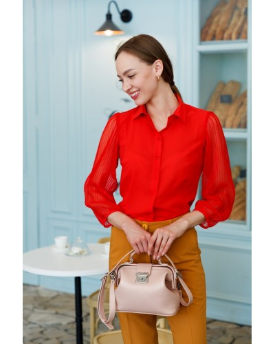 Червона блуза з шовку, рукав-плісе 30-245-820