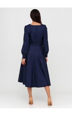 Міді плаття темно-синього кольору з поясом