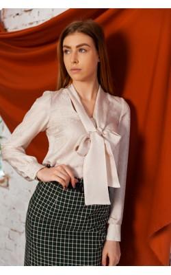 Молочна блуза з бантом 30-328-990