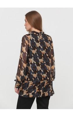 Шовкова блуза з абстракним принтом і рюшею внизу