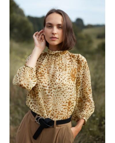 Блуза з коміром - стійкою на зав'язках 30-342