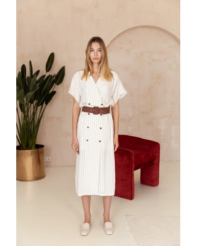 Молочне плаття міді з коричневим поясом 30-357