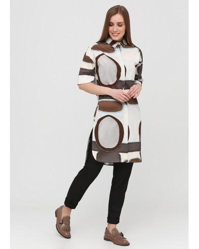 Молочна туніка-сорочка з геометричним принтом