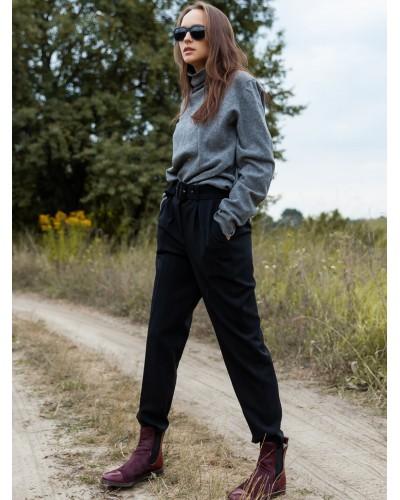Класичні чорні брюки галіфе 30-367-997