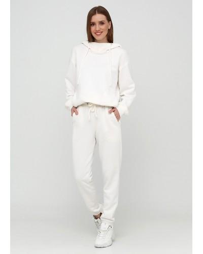 Трикотажні білі штани із завищеною талією