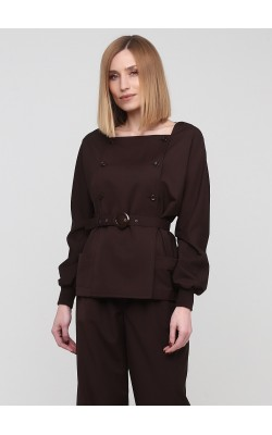 Класична двубортна блуза коричневого кольору