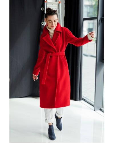 Красное пальто с цельнокроенным рукавом 77-1102