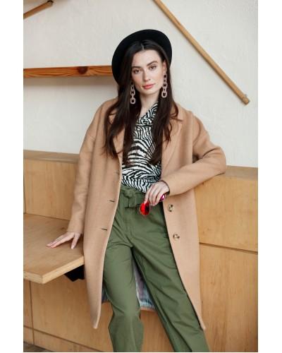 Базовое бежевое пальто 77-1105