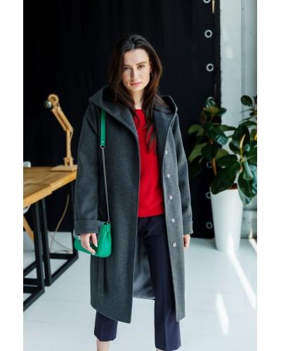 Темно-серое пальто с капюшоном 77-1107