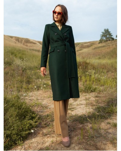 Демісезонне пальто смарагдового кольору 77-1123