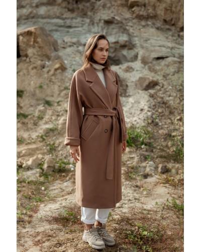Утеплене пальто двубортного прямого крою