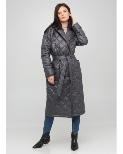 Сіре стьобане пальто на кнопках з поясом