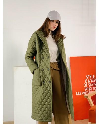 Стьобане пальто кольору хакі 77-1132/У-765-129-6