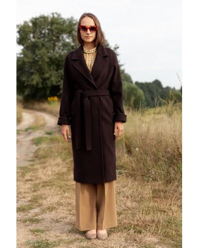 Класичне темно-коричневе пальто 77-1135