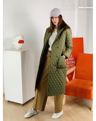 Трендове стьобане пальто кольорі хакі
