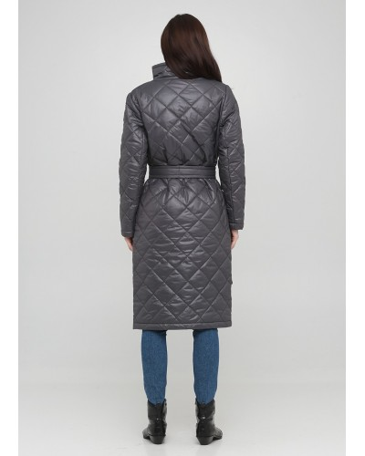 Стьобане пальто темно-сірого відтинку на кнопках