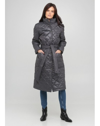 Утеплене сіре стьобане пальто