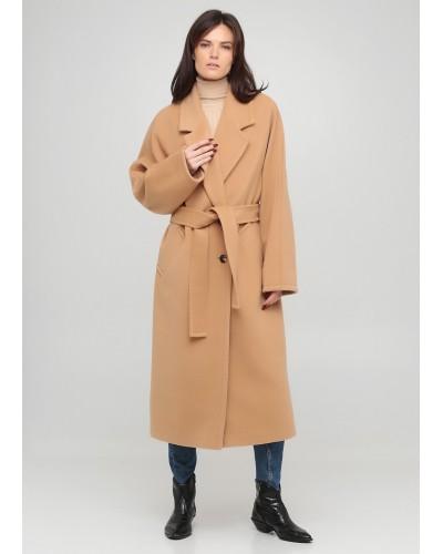 Світло-коричневе демісезонне пальто з поясом