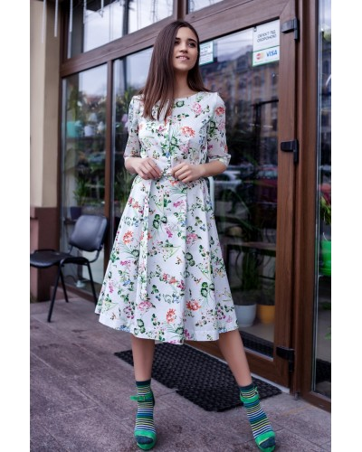 Платье растительный принт 77-256