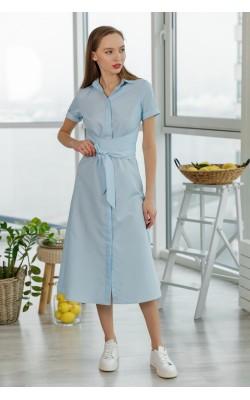 Синя сукня з довгими поясом 77-266-691