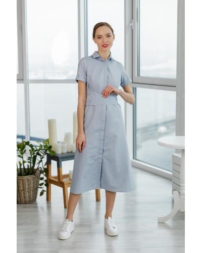 Сіра сукня-сорочка з поясом 77-266-696