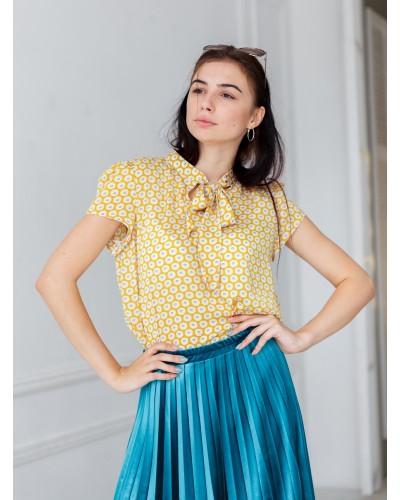Блуза МАКО желтая в цветы арт303