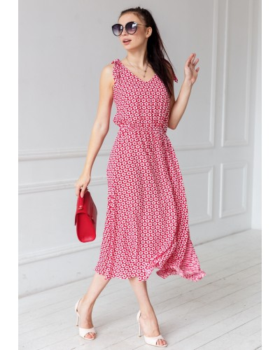 Платье с юбкой полусолнце принт в цветы