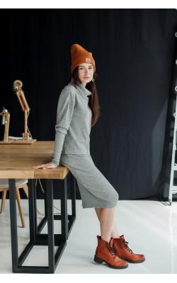 Серый трикотажный костюм кофта+юбка