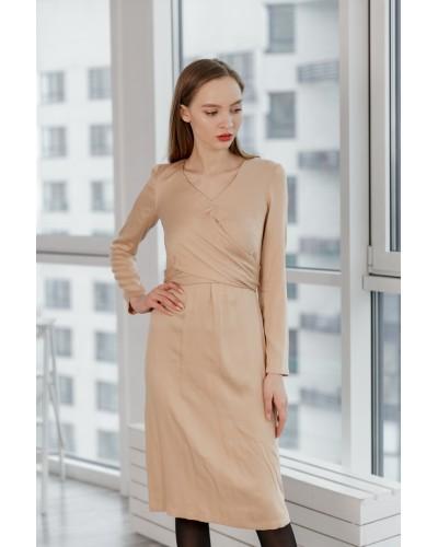 Бежева сукня з поясом-зав'язкою 77-330-686