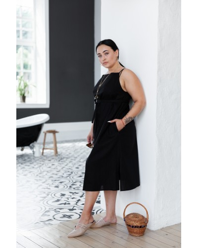 Чорна сукня з льону на бретелях 77-332-723