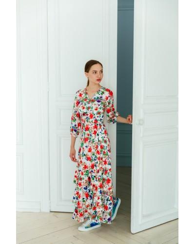 Квіткове плаття з воланами 77-353-711