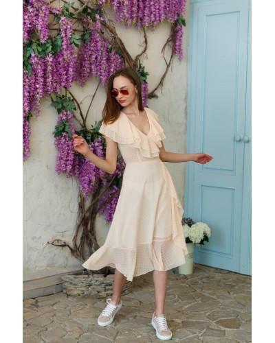 Персикова сукня з воланами 77-354-713