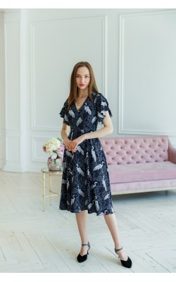 Сукня з принтом лелека ліф на запах 77-357-705
