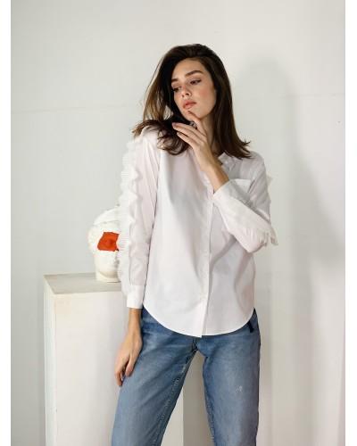 Біла блуза зі знімною рюшею 77-393-766