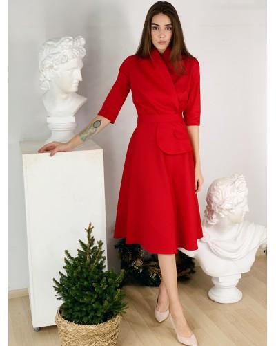 Червона сукня з поясом-баскою 77-394-767