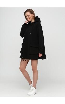 Спортивне чорне худі-плаття з начосом